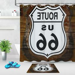 100% Polyester Fabric US Route 66 Road Sign Shower Curtain S