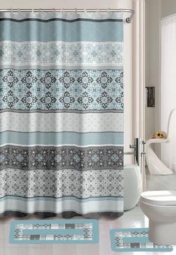 15-Piece Bathroom Accessory Set 2 Bath Mats Shower Curtain &