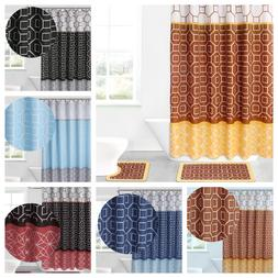 15PC Bathroom Bath Rugs Mats and Shower Curtain Set 3-Tone M