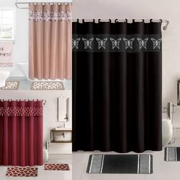 4PC PRINTED BANDED BATHROOM SHOWER CURTAIN SET BATH MAT FABR