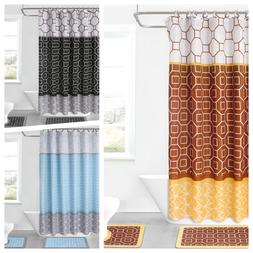 15PCS PRINTED BATHROOM SET BATH MATS SHOWER CURTAIN W/HOOKS