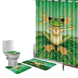 Amagical 16 Pieces Shower Curtain Set Bathroom Mats Set Non-