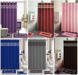 18 piece bathroom shower mat curtain set