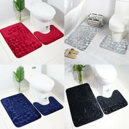 2Pack U-Shape Non-Slip Flannel Bathroom Bath Rug Foam Pad Ma