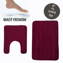 2Pcs Bathroom Memory Foam Mat Toilet Non-slip Bath Rug Conto