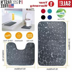 2Pcs Memory Foam Bath Shower Mat Set Pedestal Bedroom Soft N