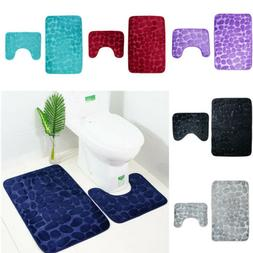 2Pcs/set Bath Non-Slip Mat Toilet Contour Cover Rug Bathroom