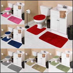 3-Piece Bathroom Bath Mat Contour Rug Set with Toilet Lid Co