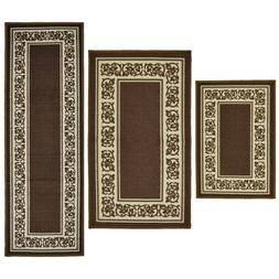Throw Rugs 3 Piece Set Brown Kitchen Bath Bedroom Area Floor