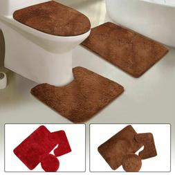 3 Piece Solid Plush Bathroom Rug Set, Bath Mat, Contour Rug,