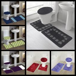 3PC BATHROOM SET BATH RUG CONTOUR MAT TOILET LID COVER ASSOR