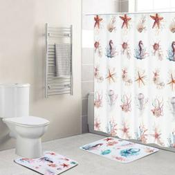 3Pc Nature Print Complete Bathroom Rug Set Shower Curtain Co