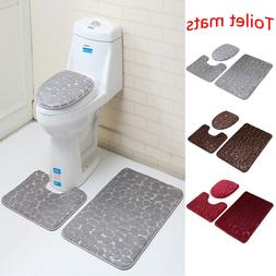 3Pcs Anti-Slip Bathroom Rug Mat Set Stone Pattern Soft Memor