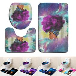 3Pcs/Set African Woman Printed Non-slip Toilet Seat Cover Ru