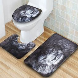 3Pcs Set Lion Pattern Bathroom Non-Slip Pedestal Rug Lid Toi