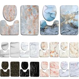 3Pcs Set Marble Pattern Bathroom Non-Slip Pedestal Rug Lid T