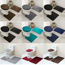 3PCS/Set Non-slip Soft Bath Pedestal Mat Toilet Lid Carpet B