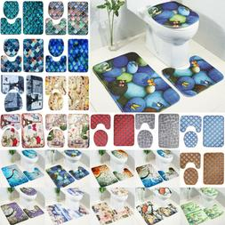3Pcs Set Pattern Bathroom Non-Slip Pedestal Rug Lid Toilet C