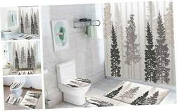 4 Pcs Tree Shower Curtain Sets with Non-Slip Rug, Toilet Lid