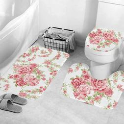4Pcs Pink Roses Bathroom Polyester Shower Curtain Non Slip T