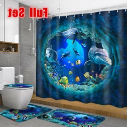 4PCS Shark Deep Sea Waterproof Shower Curtain Pedestal Rug B