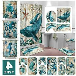 4X Sea Turtles Non Slip Polyester Shower Curtain + Toilet Co