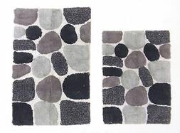 Cotton Craft - 2 Piece Bath Rug Set - Pebbles Stones with Sp