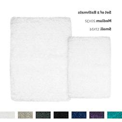Nestl Bedding 2 Pack - Small & Medium Shaggy Bath Rug with N