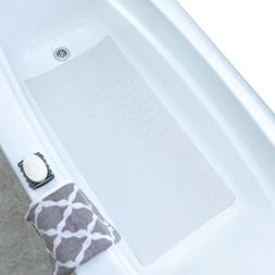 SlipX Solutions White Extra Long Rubber Bath Safety Mat Adds