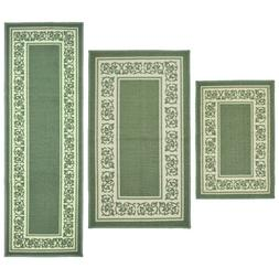 Throw Rugs 3 Piece Set Green Kitchen Bath Bedroom Area Floor