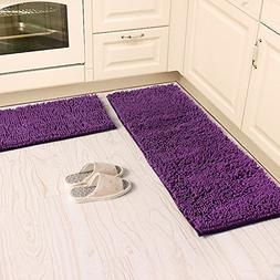 Ustide 2-Piece Kitchen Rug Set Shaggy Chenille Rug Purple Wa