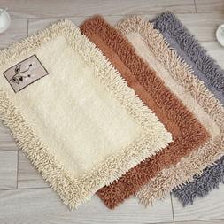 Absorbent Soft Chenille Bath Mat Machine Washable Bathroom S
