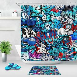 Abstract Child Graffiti Shower Curtain Set Polyester Fabric