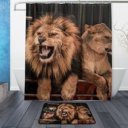 Franzibla African Fierce Lion Shower Curtains 60 x 72 inch P