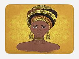 Ambesonne African Woman Bath Mat by, Tribal Woman Portrait i