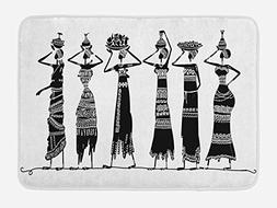 Ambesonne African Woman Bath Mat by, Sketch of Local Women w