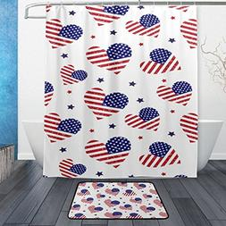 ALAZA American Flag with Hearts Waterproof Thick Shower Curt