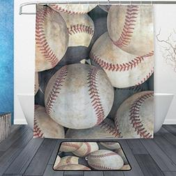 ALAZA Set of 2 American Sports Theme 60 X 72 Inches Shower C