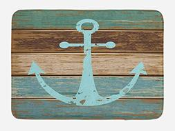 Ambesonne Anchor Bath Mat, Timeworn Marine Symbol on Weather