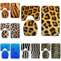 Animal Skin Leopard Tiger Pattern Bath Mat Toilet Cover Carp