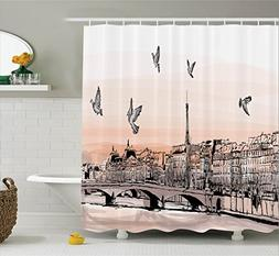 Apartment Decor Shower Curtain Set By Ambesonne, Panorama Sk