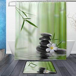 ALAZA Set of 2 Asian Zen 60 X 72 Inches Shower Curtain and M