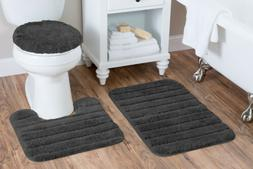 Baltic Linen Luxury Nylon 3 Piece Bath Rug Set, Gun Metal