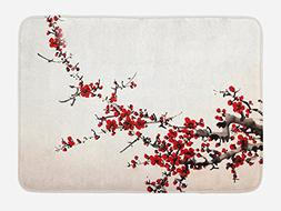 Ambesonne Art Bath Mat by, Cherry Blossom Sakura Tree Branch