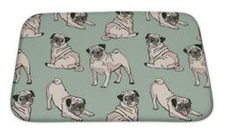 Bath Mat, Cute Dogs Pug Pattern