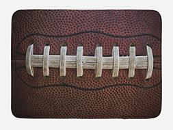 Lunarable Sports Bath Mat, American Football Leather Laces F