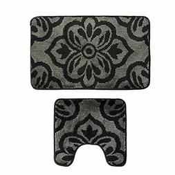 Bath Mat Set Non-Slip Bathroom Rug + U-Shaped Toilet Contour