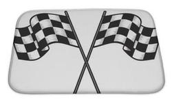 Bath Mat, Two Crossed Checkered Flags