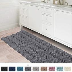 Bath Rug Runner Slip-Resistant Striped Pattern Large Chenill