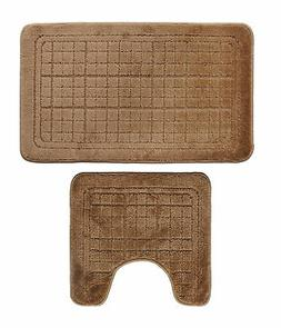 Bathroom 2 Pieces Bath Rug Pedestal Mat Set Contour and bath